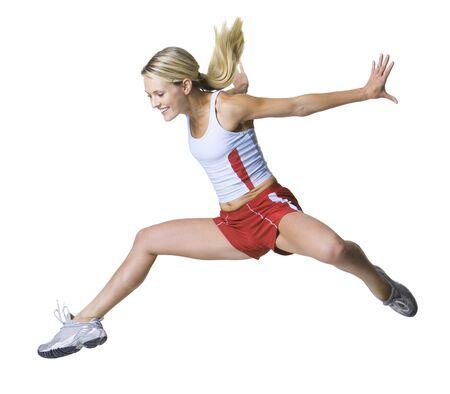run down: Young Woman Jumping