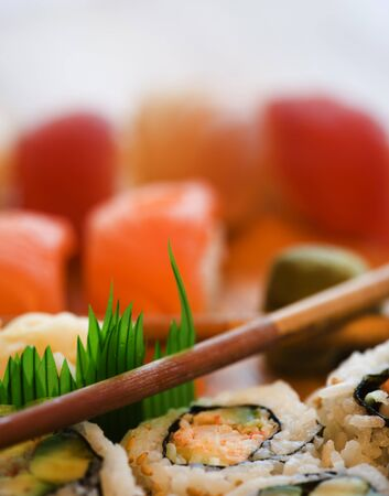 Close-Up Of Sushi And Chopsticks