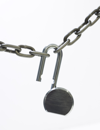 combination: Close-Up Of An Open Lock And A Chain