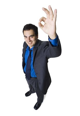 High Angle View Of A Businessman Making An Ok Sign
