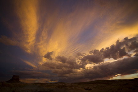 Panoramic View Of The Sky At Dusk In A Canyon