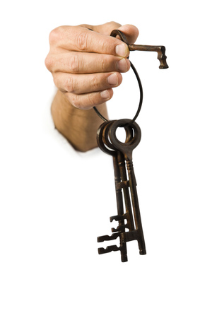 Close-Up Of A Key Ring In A ManS Hand