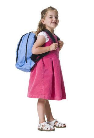 Little Girl Carrying A Bag On Her Shoulders