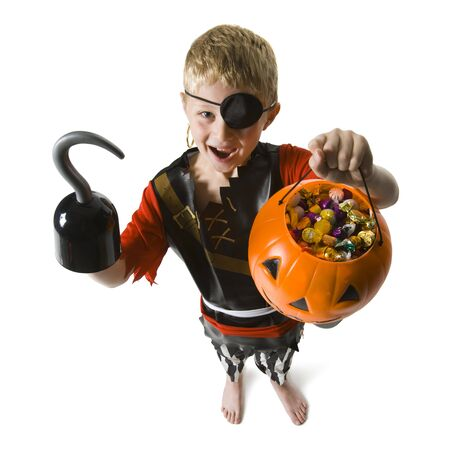 Portrait Of A Boy Dressed As A Pirate And Trick Or Treating
