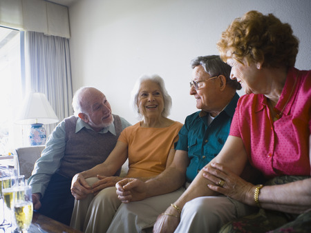 living room sofa: Close-Up Of Two Senior Couples Smiling Together LANG_EVOIMAGES