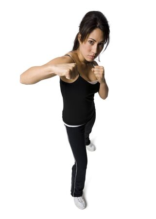 Portrait Of A Woman Punching
