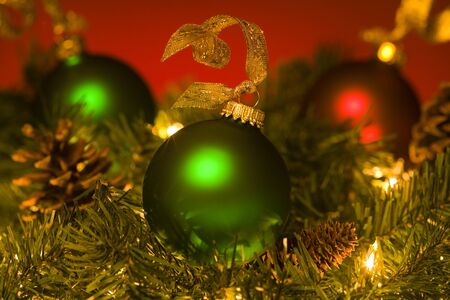 pine wreaths: Close-Up Of Christmas Ornaments LANG_EVOIMAGES