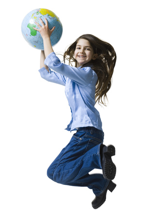 Portrait Of A Teenage Girl Jumping Holding A Globe LANG_EVOIMAGES