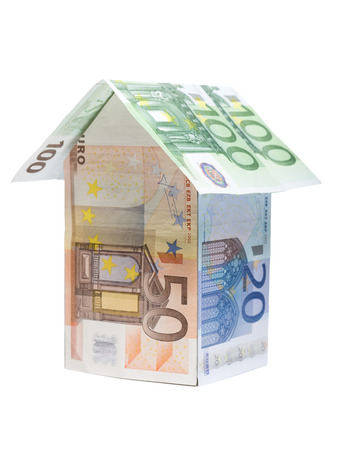 borrowing: Close-Up Of A House Made Of Euro Notes