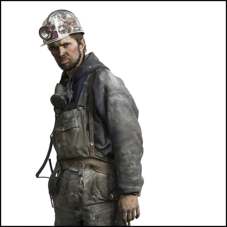 Profile Of A Miner Wearing Protective Workwear