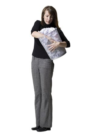 Woman Holding A Wastepaper Basket