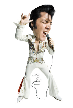 rey caricatura: Caricature Of An Elvis Impersonator Singing Into A Microphone