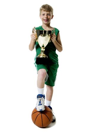 Young Basketball Player Holding Trophy