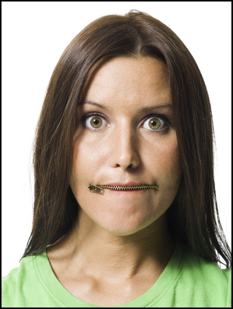 Woman With Closed Zipper On Mouth