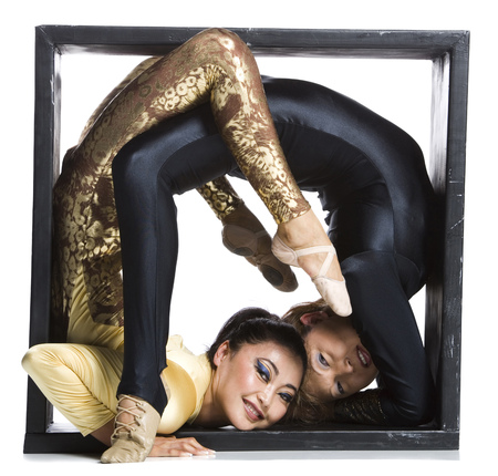 Female Contortionist Duo Inside The Box