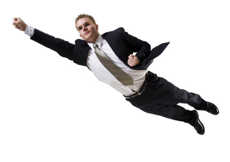 quickness: Businessman Flying Through The Air