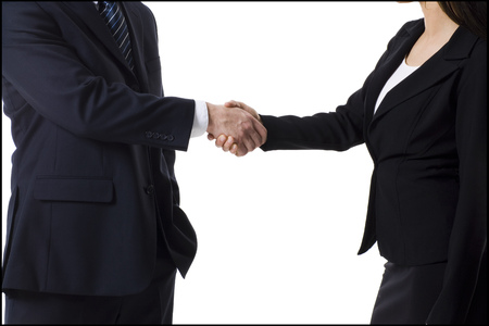 introductions: Businessman And Businesswoman Shaking Hands LANG_EVOIMAGES