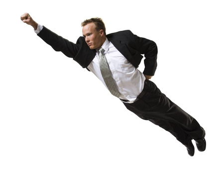 Businessman Flying Through The Air