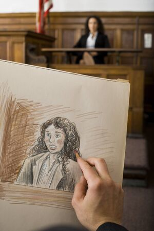 testify: Close-Up Of A ManS Hand Drawing A Sketch Of A Witness In A Courtroom