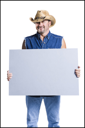 cowboy beard: Cowboy Holding Blank Sign LANG_EVOIMAGES