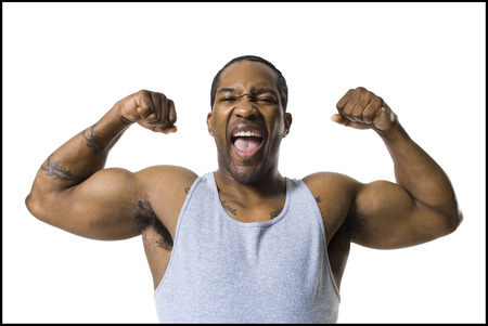 African American Man Flexing Arm Muscles