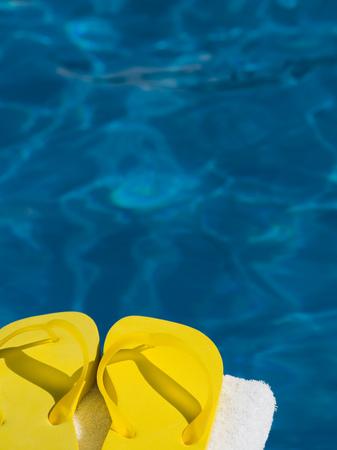 flip flops: Close-Up Of A Pair Of Flip-Flops On A Towel