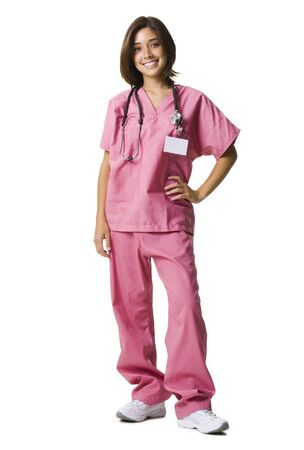 caregivers: Female Doctor In Pink Scrubs
