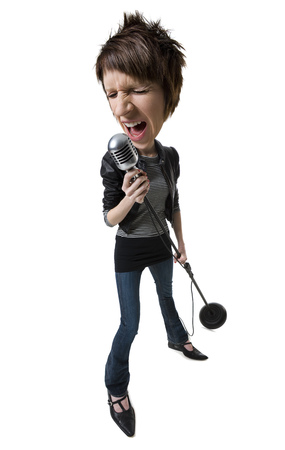 A Caricature Of A Young Woman Singing Into A Microphone
