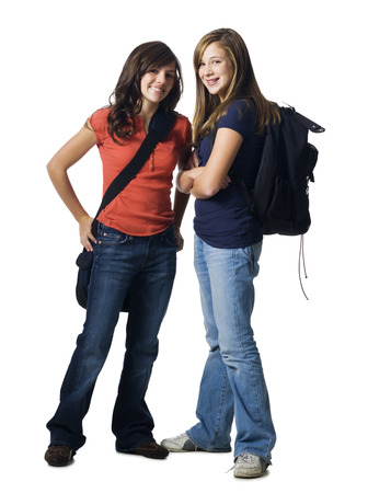Girls With School Bags Smiling LANG_EVOIMAGES