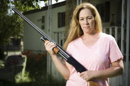 Woman In Trailer Park With Shotgun