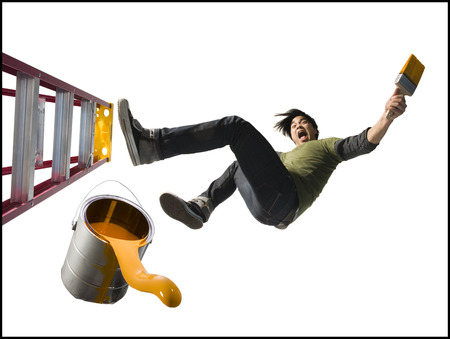 Man Falling From Ladder With Paint Brush LANG_EVOIMAGES