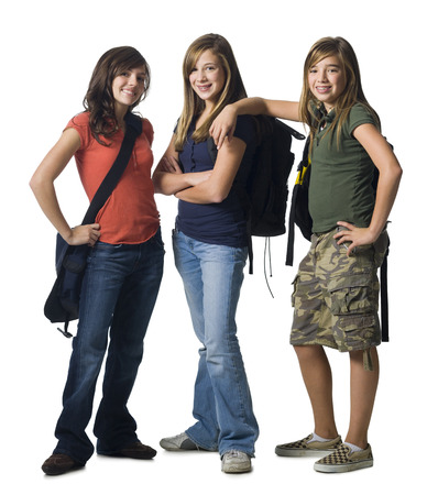 Girl With Schoolbags Smiling