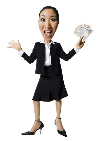 Caricature Of Businesswoman With Japanese Currency LANG_EVOIMAGES