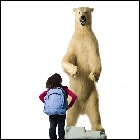 ruck sack: Rear View Of Girl With Polar Bear LANG_EVOIMAGES