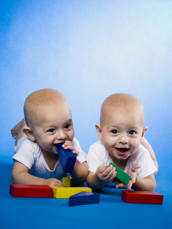 Twin Babies On Bellies With Blocks LANG_EVOIMAGES