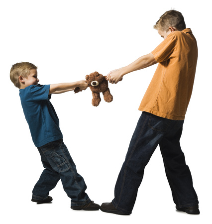 argue kid: Two Brothers Arguing Over A Plush Toy