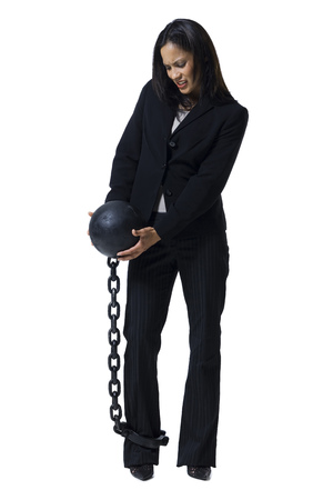 restraints: Businesswoman Shackled To Ball And Chain