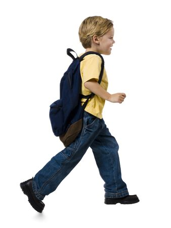 ruck sack: Boy With Backpack Running
