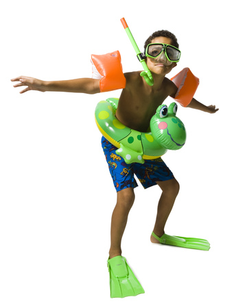 flippers: Niño gracioso en equipo de natación