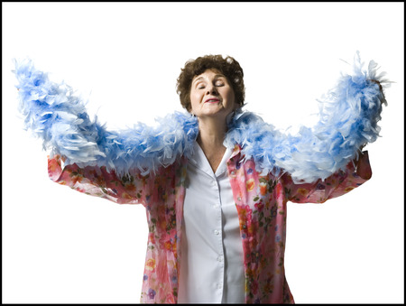 one mature woman only: Elderly Woman With A Feather Boa
