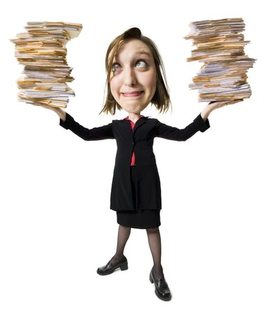 Caricature Of Businesswoman With File Folders LANG_EVOIMAGES