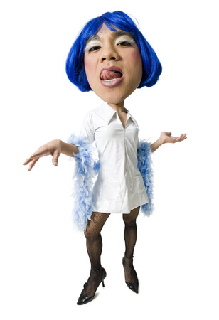 panty hose: Man With Blue Wig And Dress Flirting