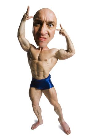 Caricature Of Muscular Man Flexing