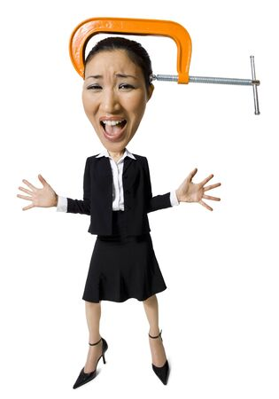 Caricature Of Businesswoman With Vice On Head LANG_EVOIMAGES
