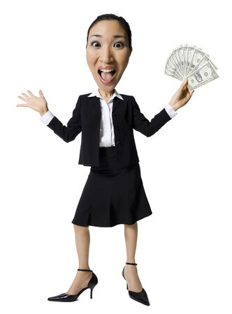 Caricature Of Businesswoman With Us Currency