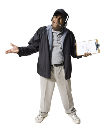 Coach With Clipboard And Headset Shrugging LANG_EVOIMAGES