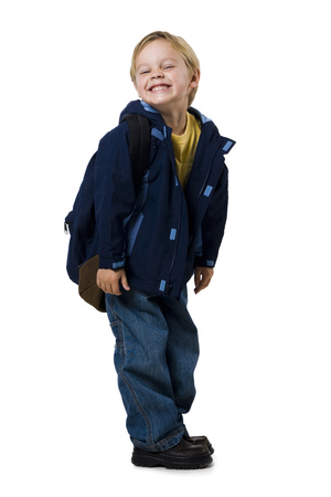 ruck sack: Boy With Backpack Grinning