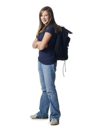 ruck sack: Girl With Backpack Smiling LANG_EVOIMAGES