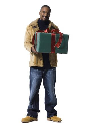 African American Man With Christmas Gift