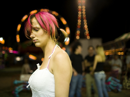 subculture: Female Punk With Dyed Pink Hair